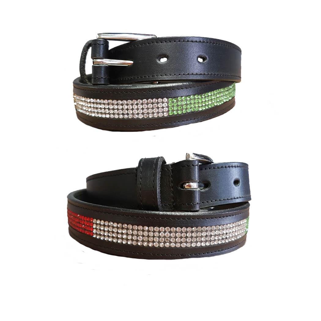 Black Leather Belt with Coloured Crystals