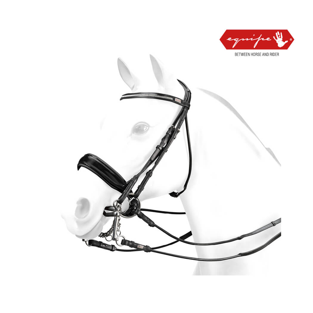 Equipe Rolled Double Bridle with Swarovski -BR61